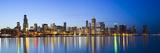 USA, Illinois, Chicago, Dusk View of the Skyline from Lake Michigan Fotografie-Druck von Nick Ledger