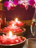 Thai Table Decoration: Red Flower Candles and Orchids Photographic Print