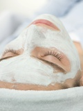 Woman with Face Mask Photographic Print
