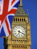Union Jack Flag and Big Ben, Houses of Parliament, London, England Photographic Print by Neil Farrin