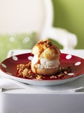 Cream Puff with Ice Cream and Caramel Sauce Photographic Print