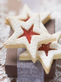Star-Shaped Jam Biscuits with Icing Sugar (Christmas) Photographic Print