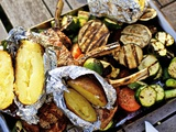 Barbecued Vegetables, Baked Potatoes, Lamb Chops on Barbecue Tray Photographic Print by Herbert Lehmann