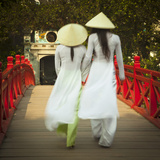 Girls Wearing Ao Dai Dress, Huc Bridge, Hoan Kiem Lake, Hanoi, Vietnam Photographic Print by Jon Arnold