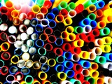 Lots of Coloured Straws Photographic Print