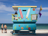 USA, Miami Beach, South Beach, Lifeguard Hut on Miami Beach Photographic Print by Walter Bibikow