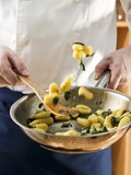 Tossing Sage Gnocchi in a Frying Pan Photographic Print