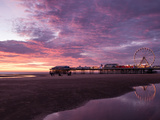 England, Lancashire, Blackpool, Central Pier Sunset Photographic Print by Mark Sykes
