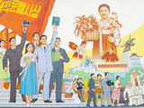 North Korea, Pyongyang, Pyongyang Film Studios, Wall Murals Photographic Print by Gavin Hellier