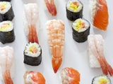 Various Types of Nigiri and Maki Sushi Photographic Print by Martina Schindler