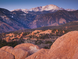 USA, Colorado, Colorado Springs, Garden of the Gods with View of Pikes Peak, Dawn Photographic Print by Walter Bibikow