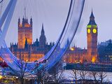 UK, England, London, London Eye, Houses of Parliament and Big Ben Photographic Print by Alan Copson