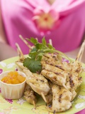 Woman Holding Plate of Satay and Chutney Photographic Print