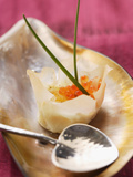 Filled Won Tons with Trout Caviare and Fried Quail's Egg Photographic Print