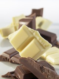 Pieces of White and Dark Chocolate Photographic Print by Jürgen Holz