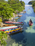 Colourful Fishing Boats on White River, Ocho Rios, St. Ann Parish, Jamaica, Caribbean Photographic Print by Doug Pearson