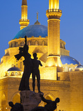 Lebanon, Beirut, Statue in Martyr's Square and Mohammed Al-Amin Mosque at Dusk Photographic Print by Nick Ledger