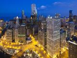 USA, Illinois, Chicago, Dusk View over the City Photographic Print by Nick Ledger