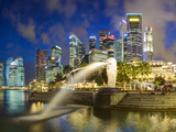 The Merlion Statue with the City Skyline in the Background, Marina Bay, Singapore Photographic Print by Gavin Hellier
