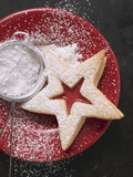 Jam Biscuit on Plate with Icing Sugar Photographic Print