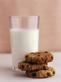 Chocolate Chip Oat Biscuits and a Glass of Milk Photographic Print by Jignesh Jhaveri