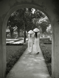 Girls Wearing Ao Dai Dress, Temple of Literature, Hanoi, Vietnam Photographic Print by Jon Arnold
