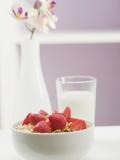 Strawberry Muesli in White Bowl Photographic Print
