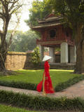 Girl Wearing Ao Dai Dress, Temple of Literature, Hanoi, Vietnam Photographic Print by Jon Arnold