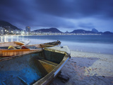 Fishing Boats on Copacabana Beach at Dusk, Rio De Janeiro, Brazil Photographic Print by Ian Trower