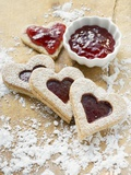Heart-Shaped Biscuits Filled with Raspberry Jam Photographic Print