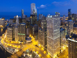 USA, Illinois, Chicago, Panoramic View over the City Photographic Print by Nick Ledger