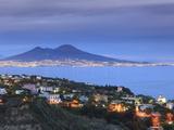 Michele Falzone - Italy, Naples, View of Naples, Posillipo Town and Mt. Vesuvius Fotografická reprodukce