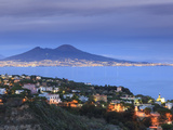 Italy, Naples, View of Naples, Posillipo Town and Mt. Vesuvius Photographic Print by Michele Falzone