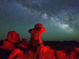 Goblin Valley State Park, Night Sky, Colorado Plateau, Utah, USA Photographic Print by Christian Heeb