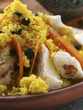 Saffron Couscous with Fish, Carrots and Raisins (N. Africa) Photographic Print