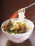 Glass Noodles with Roast Duck Breast and Vegetables (Asia) Fotografisk tryk