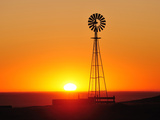 Old West Windmill at Sunset, Pawnee National Grassland, Colorado, USA Photographic Print by Christian Heeb
