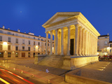 France, Provence, Nimes, Maison Caree at Night Photographic Print by Shaun Egan