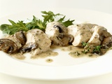 Chicken Breast with Mushroom Sauce and Salad Photographic Print by Diana Miller
