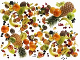 Many Different Types of Fruit Against White Background Lámina fotográfica por Karl Newedel