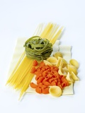 Spaghetti, Green Tagliatelle, Pipe Rigate, Orecchiette and Lasagne Photographic Print by Ira Leoni