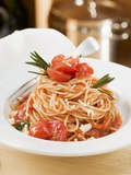 Spaghetti with Tomatoes and Rosemary Fotografisk tryk