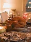 Stuffed Turkey on Table Laid for Thanksgiving (USA) Photographic Print