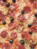 Pepperoni Pizza with Peppers and Olives Photographic Print