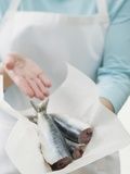 Person Showing Freshly Cleaned Anchovies Photographic Print