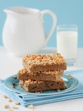 Three Slices of Peanut Cake Tray Bake on a Plate Photographic Print by Nadja Walger