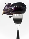 Aubergine on Fork Photographic Print by Martina Schindler