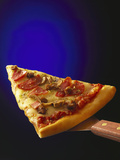 A Piece of Ham and Salami Pizza on Server Photographic Print