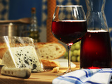 Red Wine in Glass and Carafe and a Piece of Gorgonzola Photographic Print by Michael Meisen