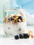 Yoghurt with Muesli, Blueberries, Apple and Dried Fruit Photographic Print by Dieter Heinemann
